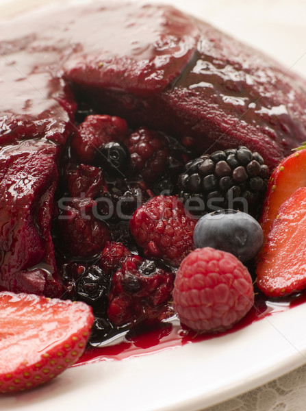 Traditional Summer Pudding with a scoop out Stock photo © monkey_business