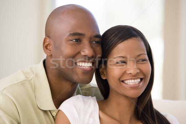 Foto stock: Pareja · salón · sonriendo · mujer · hombre · feliz