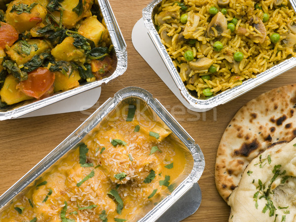 Selection Indian Take Away Dishes In Foil Containers Stock photo © monkey_business