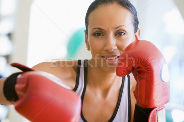 Foto stock: Mujer · boxeo · gimnasio · retrato · sonriendo · boxeador