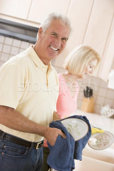 Férj feleség takarítás edények nő otthon Stock fotó © monkey_business