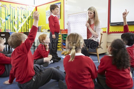 Kindergarten teacher reading to children in library Stock photo © monkey_business
