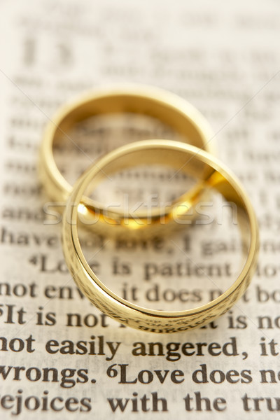 Deux alliances bible page mariage Photo stock © monkey_business
