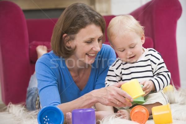 Anya nappali játszik baba mosolyog boldog Stock fotó © monkey_business