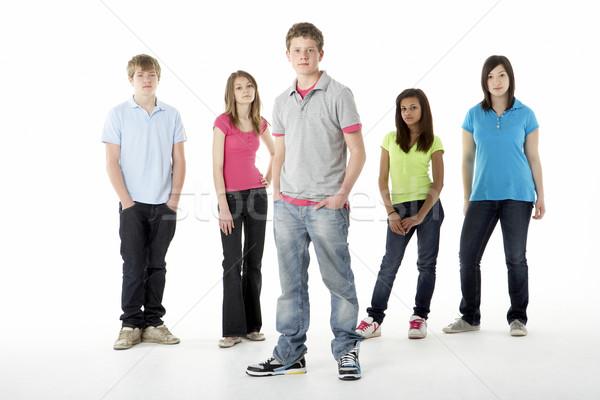 Gruppo adolescente amici studio felice colore Foto d'archivio © monkey_business