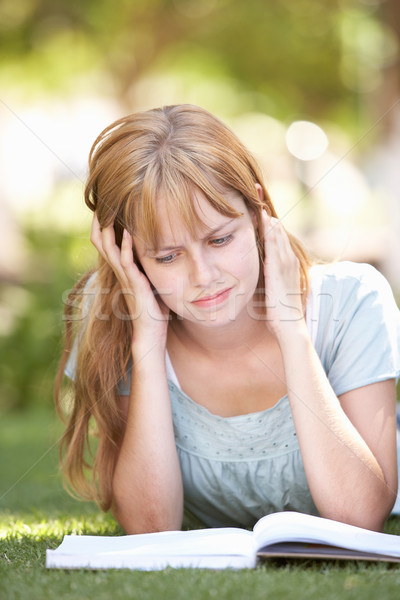 Female Teenage Student Studying In Park Looking Puzzled Stock photo © monkey_business