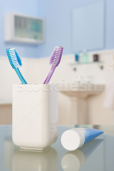 Dentifrice couple propre rose fraîches ensemble Photo stock © monkey_business