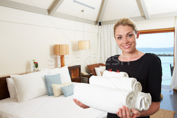 Portrait Of Hotel Chambermaid With Towels Stock photo © monkey_business