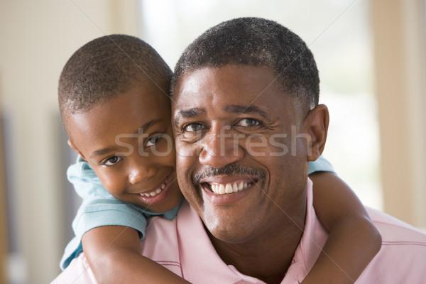 Photo stock: Grand-père · petit-fils · souriant · homme · heureux · enfant