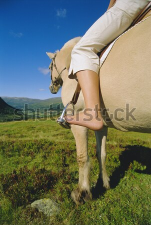 Young woman riding horse in rural setting Stock photo © monkey_business