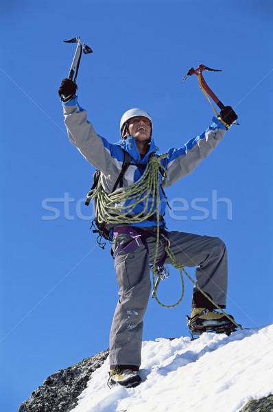 Young man celebrating on snowy peak Stock photo © monkey_business