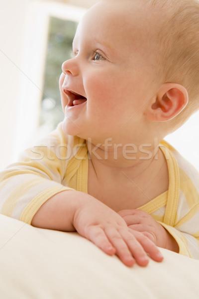 Stock fotó: Baba · bent · mosolyog · otthon · fiú · megnyugtató