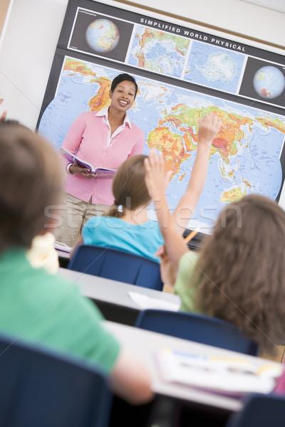 教師 小学校 地理 クラス 女性 子供 ストックフォト © monkey_business