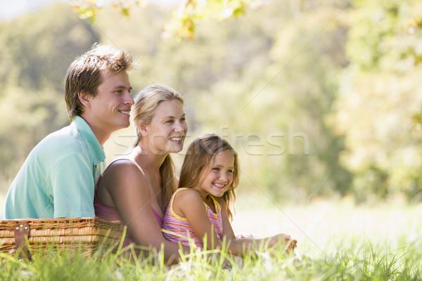Foto d'archivio: Famiglia · parco · picnic · sorridere · donna · bambino
