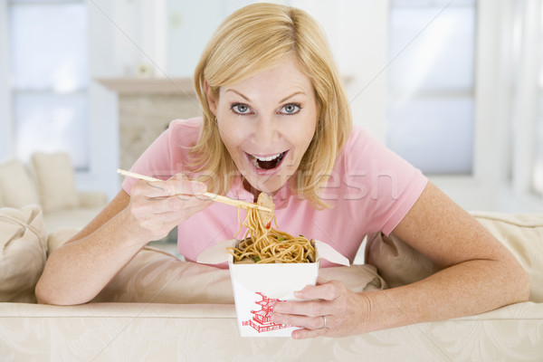 Woman Eating meal,mealtime With Chopsticks  Stock photo © monkey_business