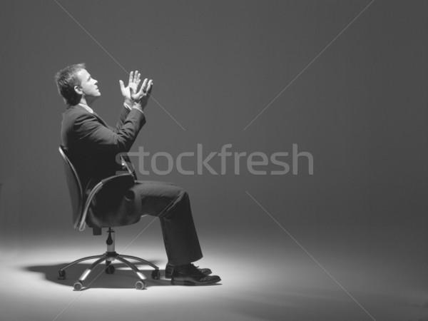 Zdjęcia stock: Biznesmen · posiedzenia · Spotlight · biuro · człowiek · krzesło