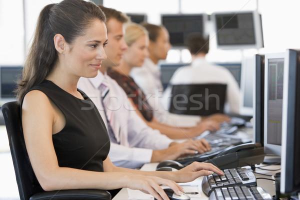 Foto stock: Stock · de · trabajo · computadoras · oficina · hombre · mujeres