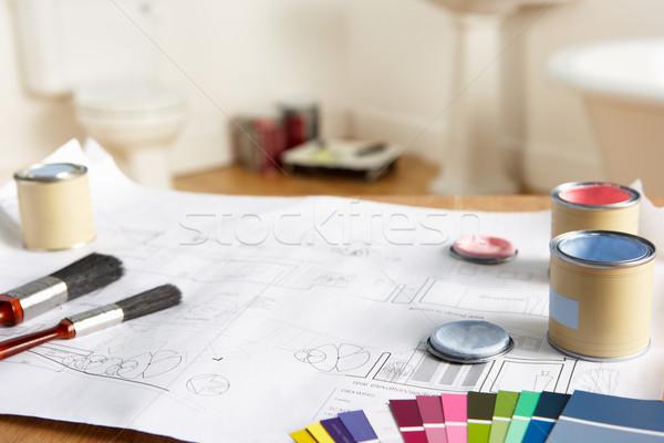 Narzędzia materiały projektu domu farby malarstwo Zdjęcia stock © monkey_business