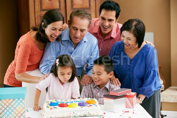 Többgenerációs család ünnepel születésnap család lány nők Stock fotó © monkey_business
