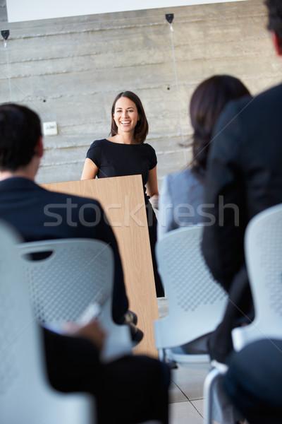 Stockfoto: Zakenvrouw · presentatie · conferentie · business · man · mannen