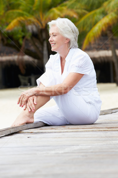 Senior Woman Sitting On Wooden Jetty Stock photo © monkey_business