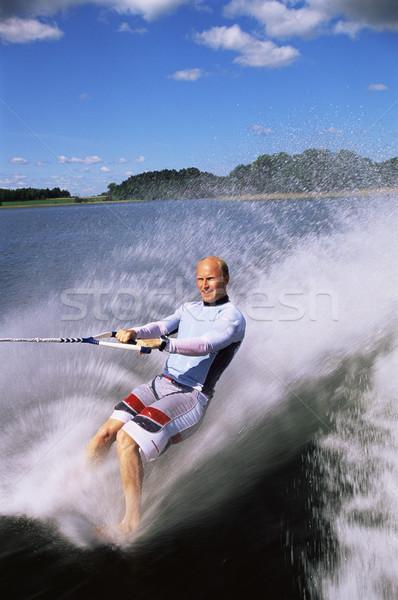 Foto stock: Moço · água · esqui · mar · cor · spray