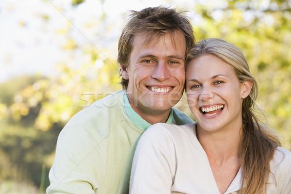 Stockfoto: Paar · buitenshuis · glimlachend · gras · man · veld
