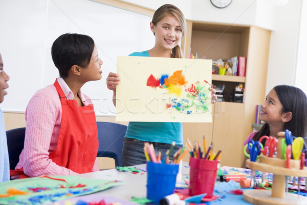 Elementary school pupil in art class Stock photo © monkey_business