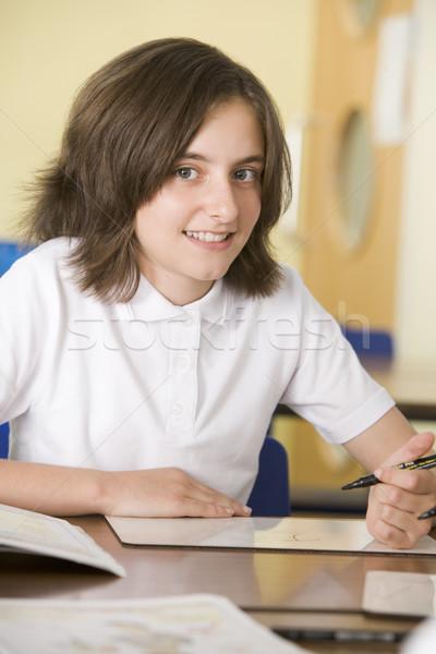 Foto d'archivio: Studentessa · studiare · classe · bambino · pen · istruzione