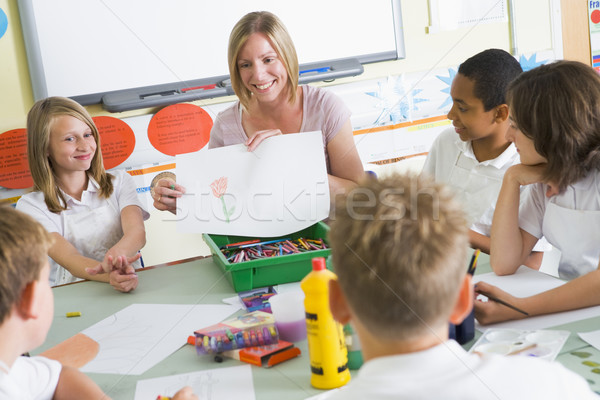 Schoolchildren and their teacher in an art class Stock photo © monkey_business