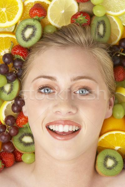 Stok fotoğraf: Portre · genç · kadın · meyve · kadın · kız · seksi