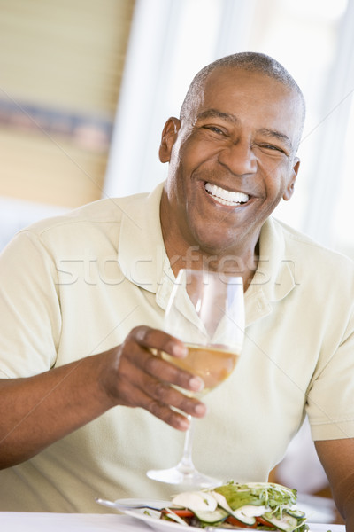 Man Enjoying meal,mealtime With A Glass Of Wine  Stock photo © monkey_business
