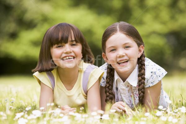 Stockfoto: Twee · zusters · buitenshuis · glimlachend · bloem · kinderen