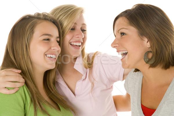 ストックフォト: 肖像 · 友達 · 女の子 · 色 · 笑みを浮かべて