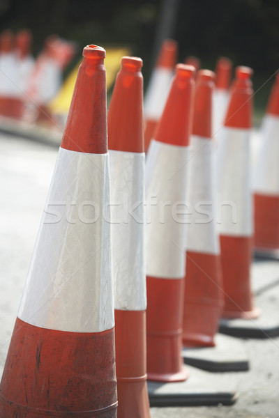 Road Cones Lined Up On The Side Of The Road Stock photo © monkey_business