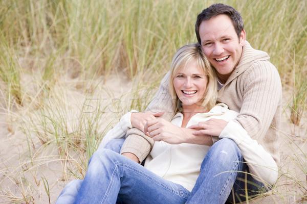 Stockfoto: Paar · vergadering · strand · glimlachend · man · gelukkig