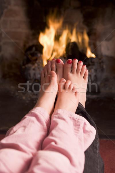 Stock fotó: Anya · láb · kandalló · nő · gyerekek · tűz