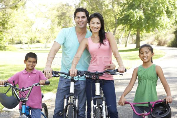 ストックフォト: 小さな · 家族 · ライディング · バイク · 公園 · 笑顔
