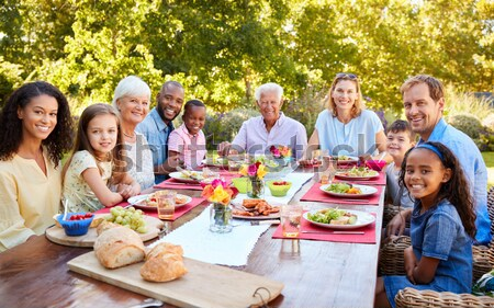 Többgenerációs család szabadtér barbeque család lány férfi Stock fotó © monkey_business