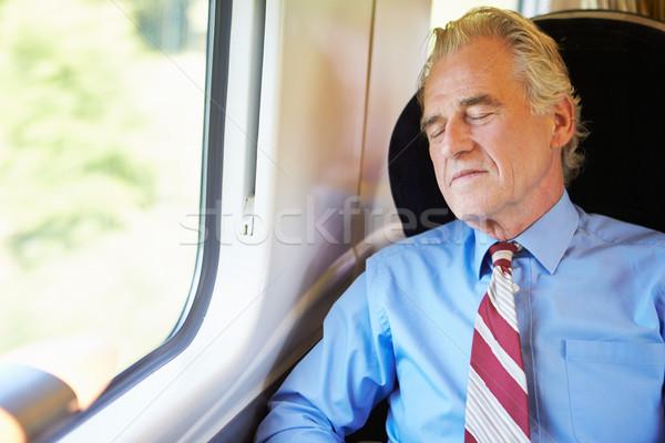 üzletember pihen vonat férfi férfiak öltöny Stock fotó © monkey_business
