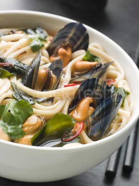 Mussels and Udon Noodles in Chili Soy Broth Stock photo © monkey_business