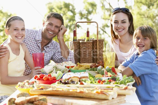 Stockfoto: Familie · dining · voedsel · wijn · man