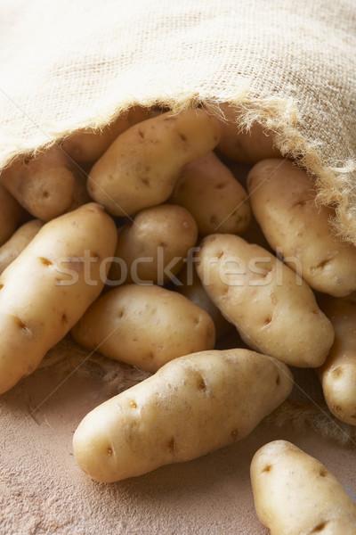 Fresh Potatoes In Hessian Sack Stock photo © monkey_business