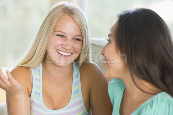 Dois sorridente outro feliz amigos Foto stock © monkey_business