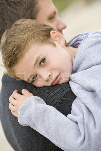 Stok fotoğraf: Baba · oğul · plaj · sevmek · çocuk