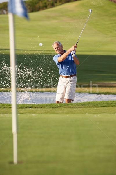 Kıdemli erkek golfçü oynama atış golf sahası Stok fotoğraf © monkey_business