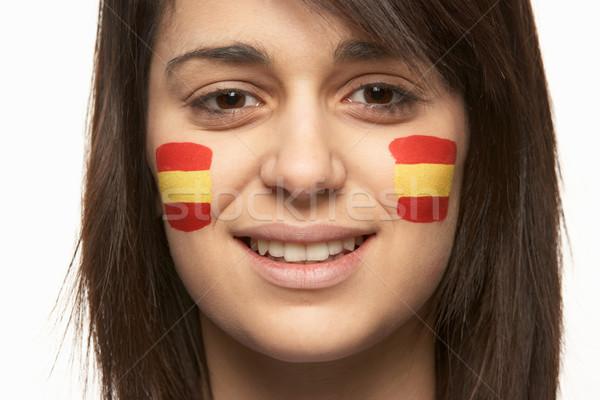 小さな 女性 スポーツ ファン スペイン国旗 描いた ストックフォト © monkey_business
