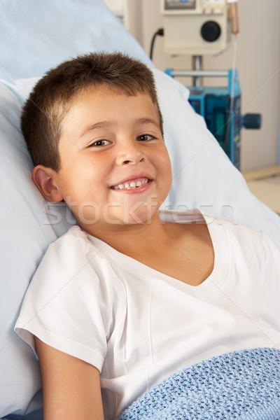 少年 リラックス 病院用ベッド 子供 幸せ 肖像 ストックフォト © monkey_business