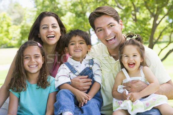 Photo stock: Famille · séance · extérieur · souriant · fille · amour