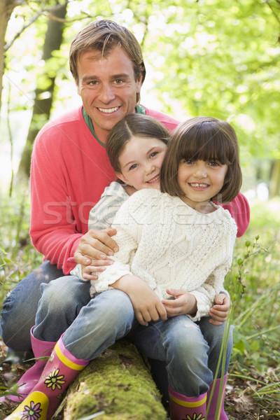 Stockfoto: Vader · buitenshuis · bos · vergadering · glimlachend · gelukkig